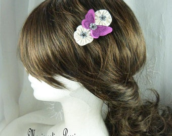 "Clip silk flowers, fuchsia, anti-slip, collection, perfect hair tie ""Mia"", Ombre, spring, made in France"