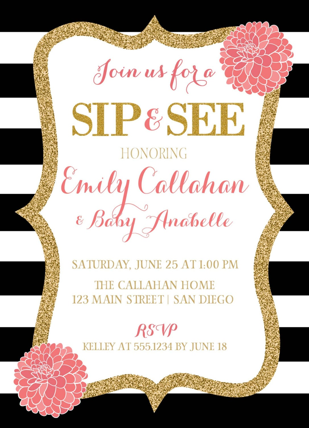 Sip and See Invitation, Pink Black And White Baby Shower Invitation ...
