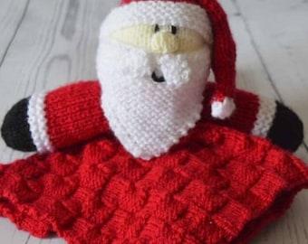 Santa Comforter Knitting Pattern, Santa Comforter Blanket Knitting Pattern, Christmas Baby Knit, Nursery Decor, Baby Shower Gift