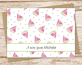 personalized watermelon note cards . watercolor notecard set . summer fruit folded cards . stationery stationary . set of 8