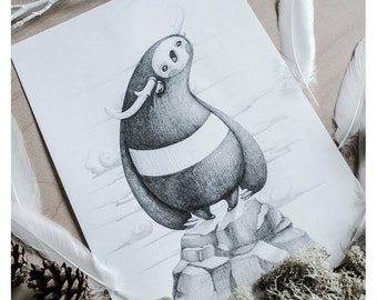 PRINT Fine ART Drawing Illustration Pencil Drawing Graphite Nursery Home DECORATION Postcard Kawaii - The Lullaby