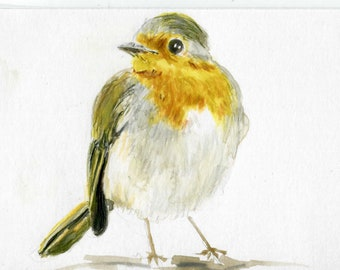 ACEO Original, Watercolor Art, Drawing, Colored Pencil, Pastel, Painting,Robin Bird, Blue Sky, Illustration, Songbird, Small Gift, Birdlover