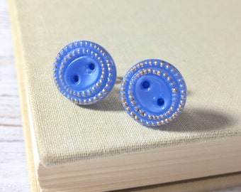 Blue Glass Studs, Vintage Czech Glass Stud Earrings, Blue with Gold Detailed Edges, Blue Button Stud, Blue Glass Button Stud (SE3)