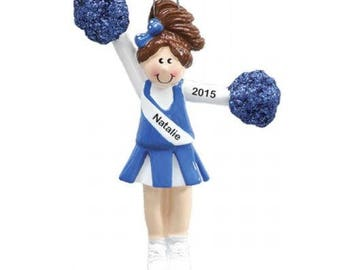 Personalized Blue Brunette Cheerleader with pom poms Christmas Ornament- Free Personalization