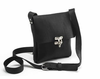 Small cross body bag, leather cross body bag, black leather bag, swing clasp closure, distressed leather bag, natural leather bag, handmade
