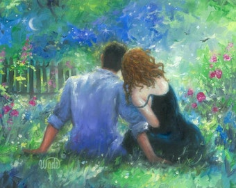 Garden Lovers Art Print, loving couple, paintings, anniversary gift, couples love, redhead, romantic, blue green wall art, Vickie Wade Art