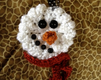 Crochet Snowman Pattern-Fast & Simple! Ornament/Pin/Package tie on!