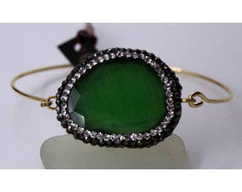 Stone with rhinestones with Stainless Steel Bracelet