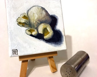 The Theatrical Popped Corn - miniature painting, small painting, mini painting, tiny painting, oil painting
