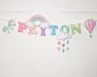 Unicorn,Rainbow,cloud with hearts name banner,name garland,name bunting,nursery decor,babyshower gift