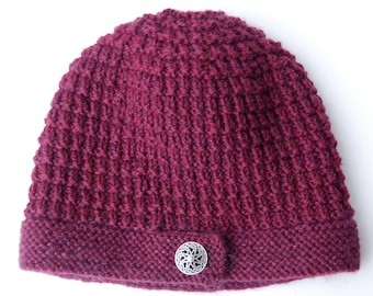 Button brim hat, knit wool hat, maroon knit beanie, knit burgundy hat, maroon hat, maroon beanie, wine beanie, burgundy beanie, knit hat