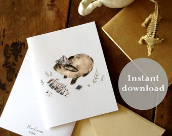 Whimsical Creatures  - Stationary - Greeting Cards - Printable Card Set - Animal Art - Animal cards - Watercolor