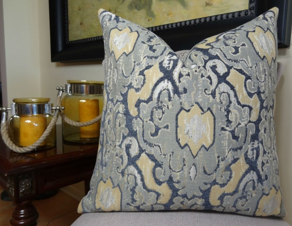 Designer Gray Chenille Pillow Cover Navy Gray Yellow Cream Beauteous Navy And Yellow Decorative Pillows