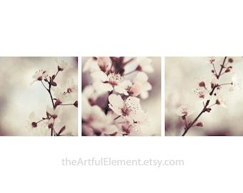 Home decor, Wall decor, Bedroom decor, Flower decor, Floral print, Gift for her, Living room art, Bathroom art // Plum Flower art set of 3