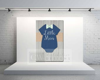 INSTANT DOWNLOAD - Little Man Navy Bowtie Canvas Onesie Backdrop Signage