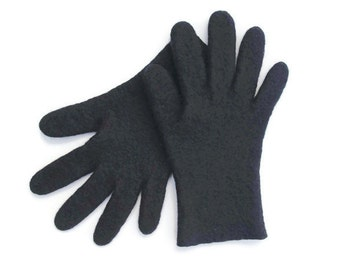 Gloves, black gloves, felted wool gloves, gift for her, fall spring winter accessories, women gloves