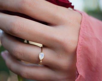 Moonstone Ring * Gold Vermeil * Adjustable * Bridal * Statement * Gemstone *Bridesmaid* White* Handmade*Gift for Her*June Birthstone BJR066C
