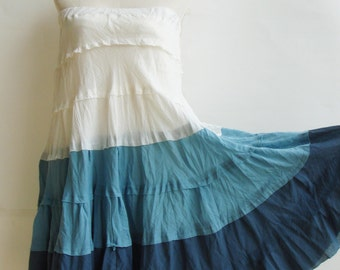 S2, Wavy Summer Spring Sexy Sky Blue Cotton Skirt, blue skirt