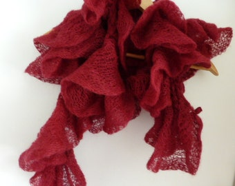 Cranberry knit scarf, hand knit long scarf, luxury yarn scarf, UK shop