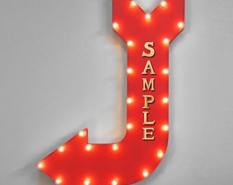 ON SALE! CUSTOMIZED Your Name Word Plug-In Battery Operated led Light Up Large Rustic Metal Marquee Sign Arrow 14 Color