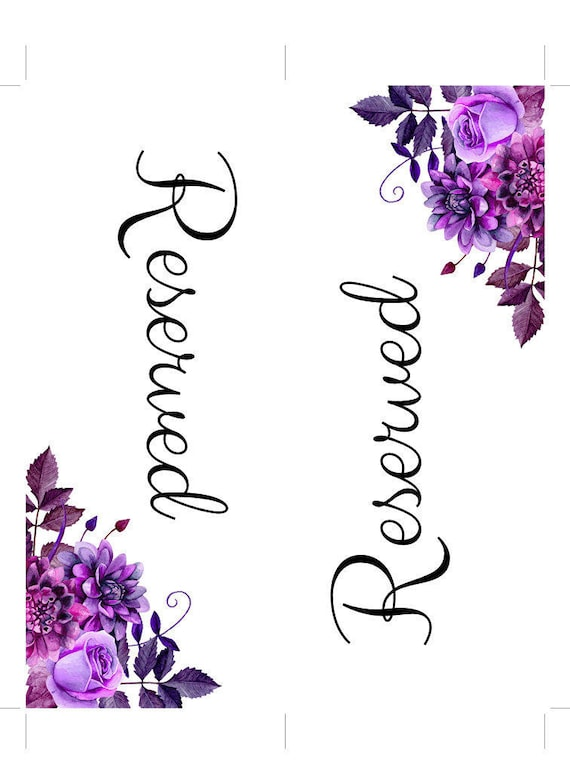 Boda reservada muestra plantilla púrpura de la boda asientos