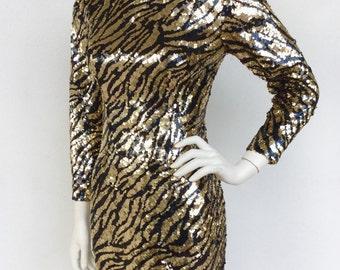 Stunning 1980s Lillie Rubin sequined tiger pattern designer knit dress