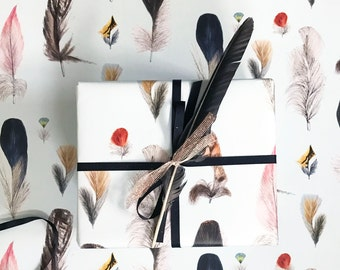 Feathers Wrapping Paper Sheet