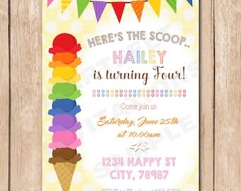 Ice Cream Birthday Party Invitation | Rainbow Scoop, Summer, Teen - 1.00 each printed