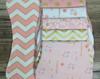 Burp Cloths Girl Burp Cloths Baby Shower Gift Baby Gift Burp Clothes Pink Burp Cloths Floral Burp Cloths Burp Cloth Set Baby Burp Cloths