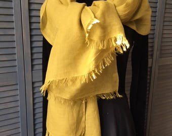 LARGE shawl 100% washed linen fringed, 75cm X 200 cm, color Curry mustard saffron yellow