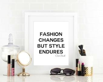 Girls Fashion Prints , Fashion Changes Quote, Fashion Home Decor, Dorm Room Decor, Girls Bathroom Art