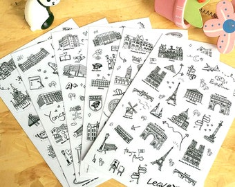 Travel Stickers 6 Sheets Transparent Craft Place Stamp World Buildings Diary Vintage Clear Art Sticker Decoration