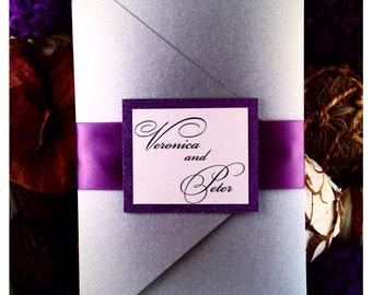 Wedding Invitation, Silver Wedding Invitation Pocketfold with Tag