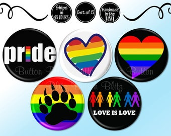 LGBT Pins, Gay Pride Pins, Support the Gay and Lesbian Community Awareness Button, Gay Pride Week Buttons, Magnet Option Available BB2399-5