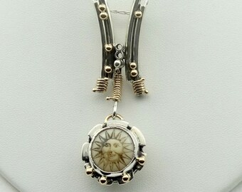 Here Comes The Funky Sun...Vintage Sterling Silver Pendant With Chain FREE SHIPPING #FUNKYSUN-SPC11