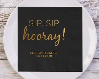 SIP, SIP hooray! Personalized Wedding Napkins | Wedding Reception Napkins