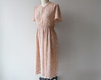1970s Young Echo Midi Dress / Vintage 70s Stenciled Peony Floral Dress / Medium