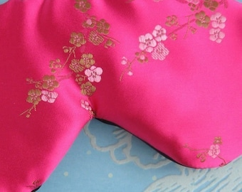 Luxury Silk Eye Mask  Fully Adjustable in Hot Sexy Pink with Blush and Gold blossoms