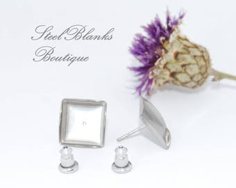 Stainless Steel Stud Earring Posts Blanks With Backs, Square, 10x10mm