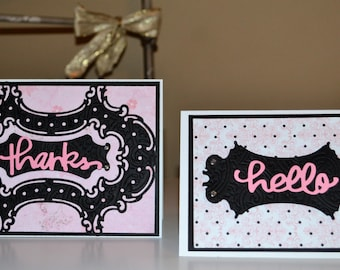 Premium Greeting Cards / Set of 2 Handmade Cards / Thanks Card / Pink Hello Card / Luxury Thank You Card / Blank Note Cards