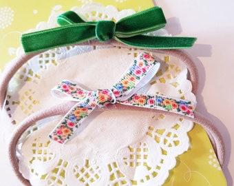 Dainty Floral/Velvet Set, Spring Bows, Baby Headbands