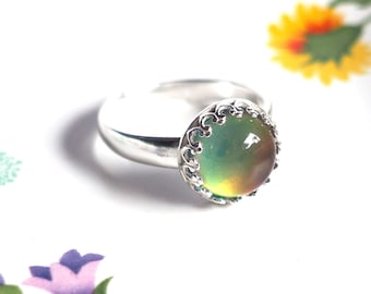 Adjustable Mood Ring, Crown Sterling Silver with Color Changing Mood Stone