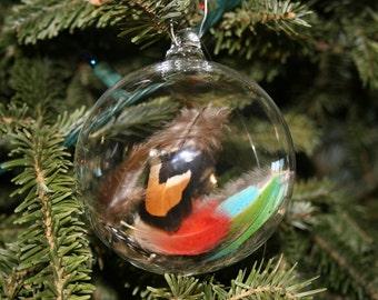 Hand Blown Ornament - Handblown Glass Christmas Ball - Feather Ornament Bird Gift- Christmas Gift