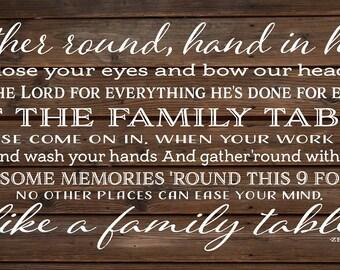 Family Table Lyrics Zac Brown Band Wood Sign, Canvas Wall Art - Kitchen, Dining Room, Thanksgiving, Housewarming, ZBB Lyrics, Mother's Day