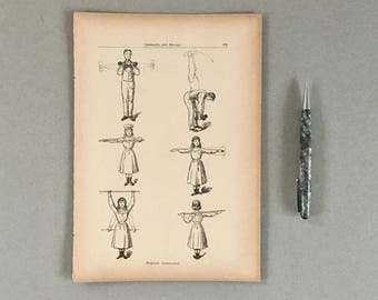 Fitness Print Antique Vintage Fitness Exercise Poster (Small) Fitness Gifts Fitness Health Wall Art Decor Vintage Work Out Poster