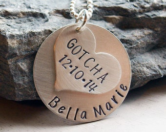Gotcha Day Present Adoption Personalized Hand Stamped Necklace