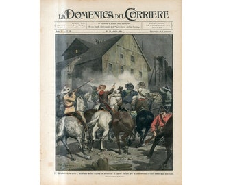 C. 1908 - COWBOYS OF the NIGHT print - original antique lithograph - ambush of the Italian workers in Virginia U.S.A.
