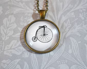 Penny Farthing bicycle on vintage style antique bronze pendant necklace