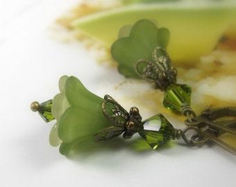 Light Olive Green Flower Earrings, Olive Green Swarovski Crystal, Floral Dangle Earrings, Woodland Gifts for Gardeners, Boho Chic Gift Ideas