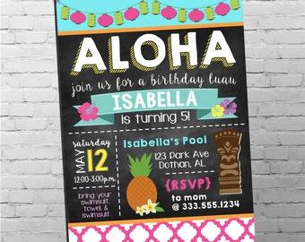 Luau Invitation   Hawaiian Invitation   Luau Party   Aloha Invitation   Luau Birthday Invitation   Girl Birthday Invitation